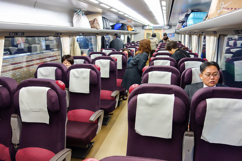 Japan-Sapporo-Hakodate-Train - The inside of my train. Other people! Angry woman behind me had not boarded at this stage.