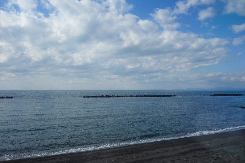 Japan-Sapporo-Hakodate-Train - The entire ocean has these barriers, which are either for tsunamis or to prevent erosion or maybe to reduce the amount of rubbish that washes up onto