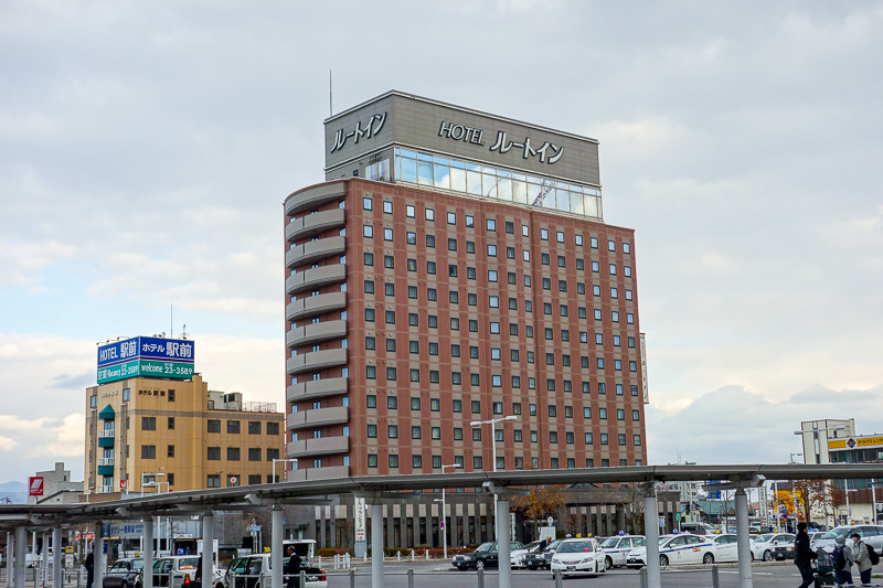 Japan-Sapporo-Hakodate-Train - This is my hotel, Route Inn Hakodate, as you can see it is large. Too early to check in, so time for a quick walk down to the docks.