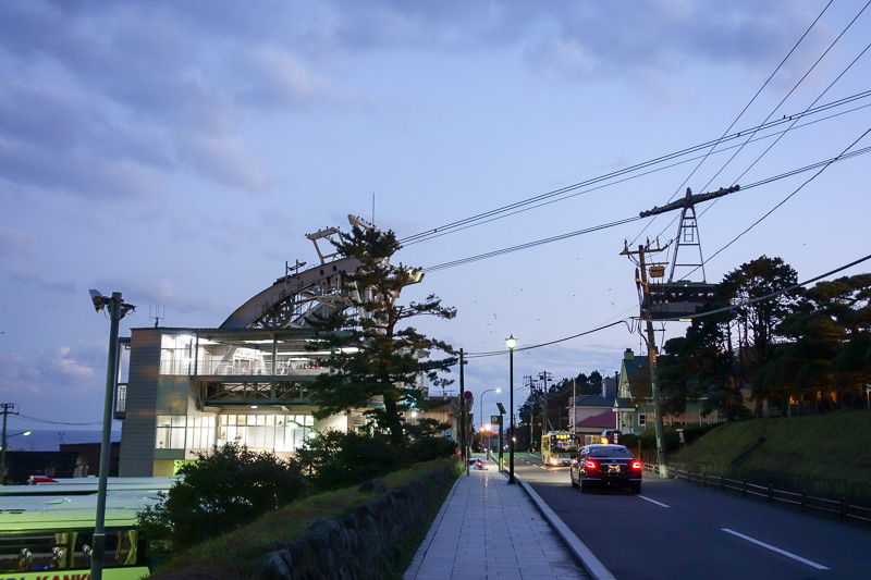 Japan-Hakodate-Hiking-Hakodateyama - Here I am at the bottom cable car station, there is a huge parking area for buses. Actually Hakodate seems like Toyama in that everything is parking.
