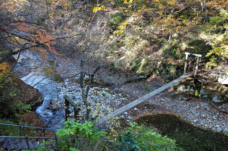 Japan-Sendai-Omoshiroyama-Hiking-Yamadera - One last bridge and then steps to get out.