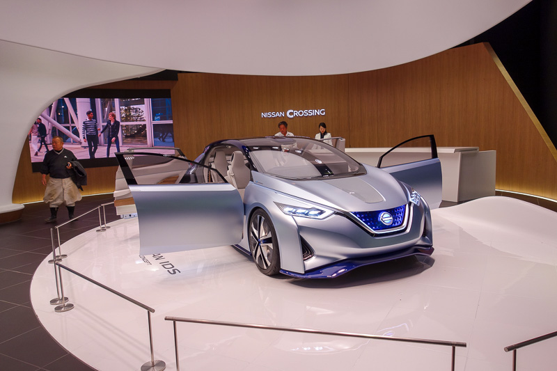 Japan-Tokyo-Ginza-Shopping Street - A shiny new Nissan concept car. Like all concept cars, the rear doors open backwards. This never lasts through to the production vehicle because that
