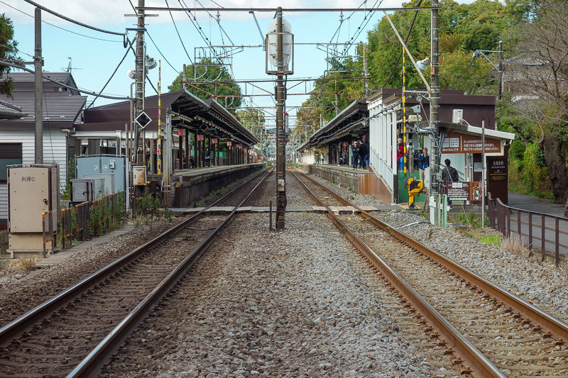 Japan-Kamakura-Hiking-Kenchoji - Kita-Kamakura station. The bathrooms are past the guard and the barriers, so just walk up the tracks and hop up onto the platform! Make sure no train