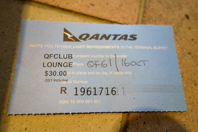 Melbourne-Brisbane-Airbus A330 - Due to there being no lounge, Qantas gave me this $30 voucher for food and drink, to be spent in a single transaction. I bought a coffee and a bottle