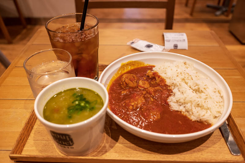 Japan-Shizuoka-Shopping Street-Food-Curry - For dinner I wanted curry, but managed to combine it with soup. Its chicken and tomato curry and green vegetable soup. Both were delicious. Curry shou