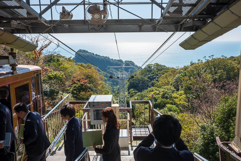 Japan-Shizuoka-Shrine-Kunozan Toshogu-Hiking - After trying repeatedly to find a service road, path, hole in the fence, I finally gave up and decided theres no way but the ropeway. They took five o