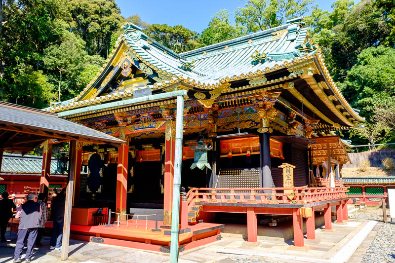 Japan-Shizuoka-Shrine-Kunozan Toshogu-Hiking - This is one of your red colorful temples. Theres a few varieties of Japanese temples. Wooden ones are worth more, check for concrete and steel with wo