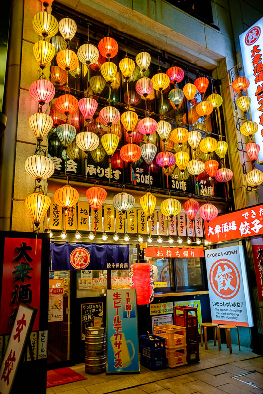 Japan-Shizuoka-Shrine-Food-Ramen - Heres a gyoza shop, with many lanterns. Their sign took my eye, 'The woman dumplings, The meat dumplings, The man dumplings'. I will get 1/2 a dozen w