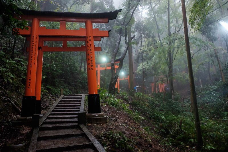 Japan-Kyoto-Fushimi Inari-Shrine-Rain - More fog. Might be PICTURE OF THE DAY! The lighting is good, makes the fog look better, but the wires are really annoying, I started to notice them mo