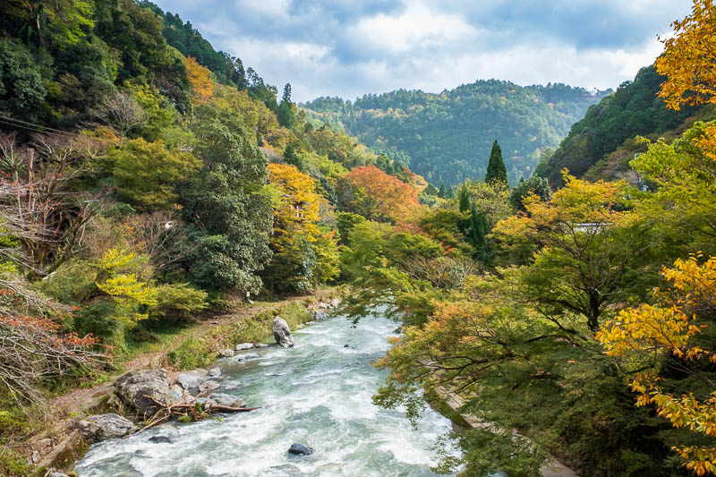 Japan-Kyoto-Hiking-Mount Atago-Arashiyama - Now I am back at the river. I turned the color DOWN on this shot!