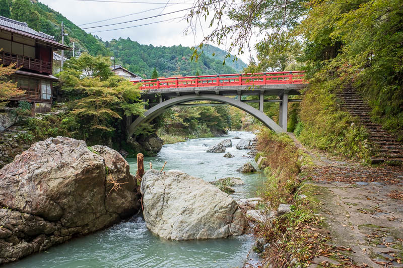 Japan-Kyoto-Hiking-Mount Atago-Arashiyama - Another red bridge! There were so many I didnt even photograph them all.
