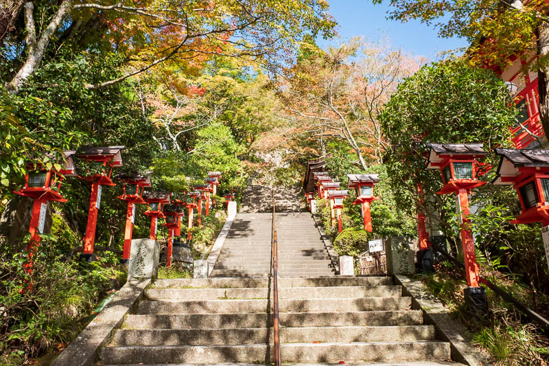 Japan-Kyoto-Kurama-Hiking-Shrine - Pretty close to peak color here! The sky was also extremely blue depending on the direction I was looking. I had to stop and marvel at various points.