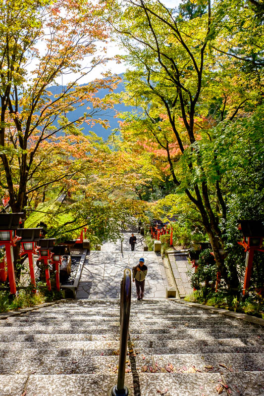 Japan-Kyoto-Kurama-Hiking-Shrine - There are a lot of steps to the top if you are a pathetic weakling. If you are even weaker than that, theres a cable car. That will save you a good 5