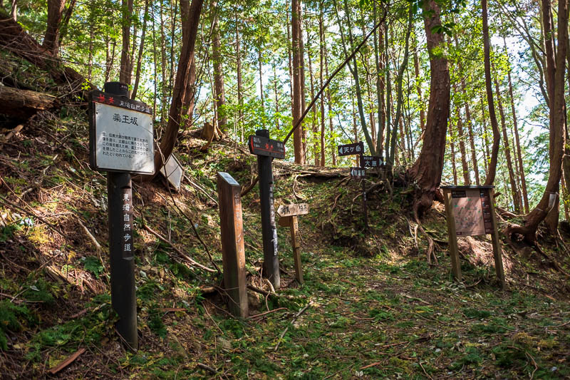 Japan-Kyoto-Kurama-Hiking-Shrine - However, here is a random spot deep in the woods, where my poorly formed path meets 3 others, with a plethora of signs and maps. I really do think thi