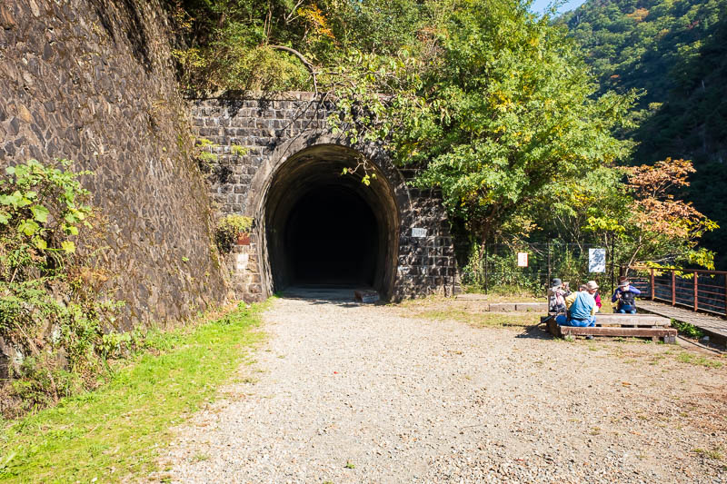 Japan-Hiking-Namaze-Tunnel - The first tunnel entrance. The first tunnel is straight, you probably dont need a torch, although you do walk over railway sleepers so might trip.