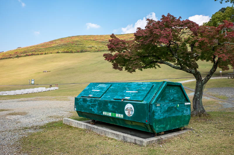 Japan-Nara-Hiking-Deer - Nearby you can pay to climb up this grassy hill and sit in the blazing sun. Or you can climb up over some rocks and photograph this rubbish bin!