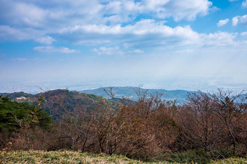 Japan-Kobe-Hiking-Mount Rokko - POLLUTION. Osaka to the left, Kobe to the right.
