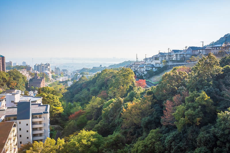 Japan-Kobe-Hiking-Mount Rokko - A bit more of the great view from here. Lots of really really nice houses up here. Lots of stairways connecting streets that require switch backs due