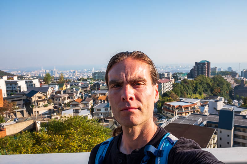 Japan-Kobe-Hiking-Mount Rokko - I thought the view was good enough to warrant a smug looking selfie.