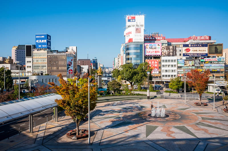 Japan-Kobe-Gifu-China Town-Shinkansen - And now, Gifu station area. Complete with gold samurai statue, holding a gun. He's doing it wrong. Sky here is less polluted, good news!