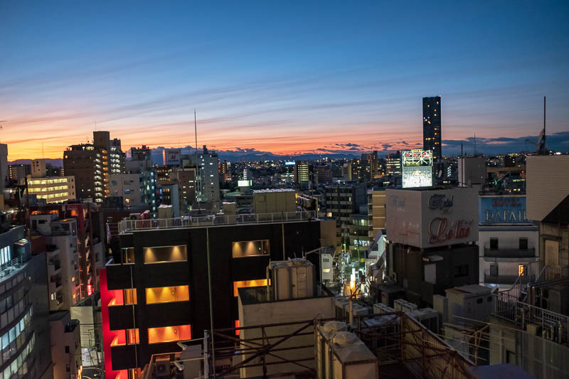 Japan-Tokyo-Shibuya-Shopping Street-Ramen - Check out the awesome sunset, as seen from my hotel window. I probably should have paid the money to go up the skytree tonight. Unless its shut whilst