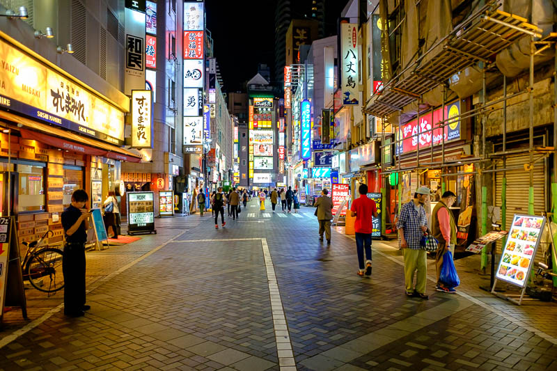 Japan-Tokyo-Shibuya-Shopping Street-Ramen - The streets behind my hotel in Ikebukuro are bright and colorful, but not too busy, however it is Monday night. When I came back later the local yakuz