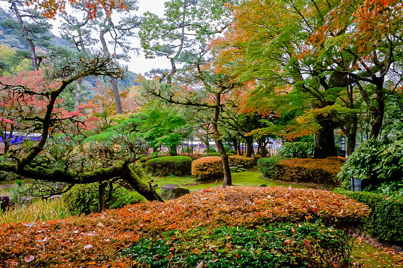 Japan-Gifu-Rain-Fog-Castle-Garden - The garden was large and colorful. I did not explore it all.