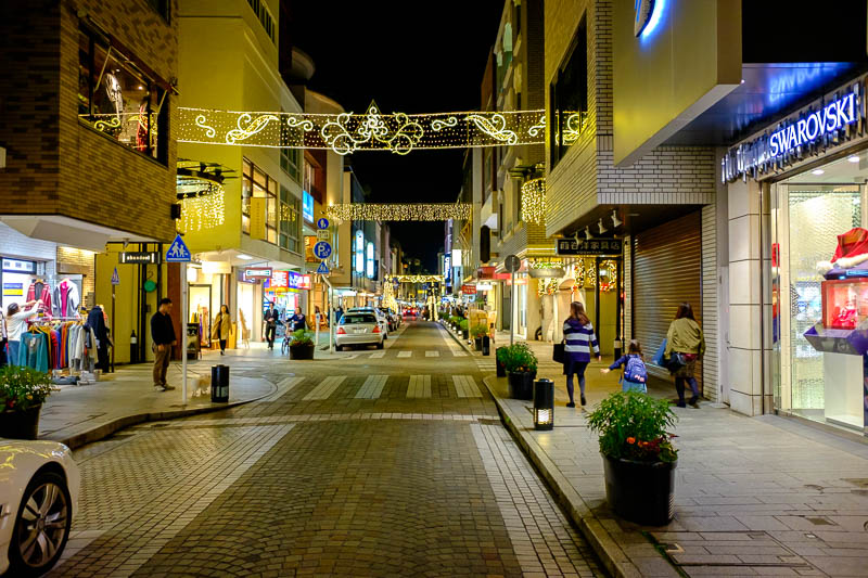 Japan-Yokohama-Motomachi-Ramen - The main part of Motomachi is nicely lit up, dont let the swarovski store fool you, its mainly independent stores.