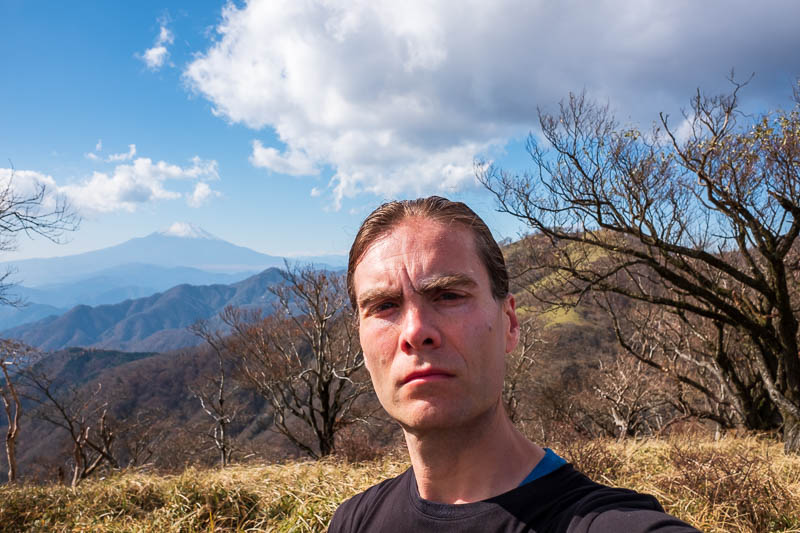 Japan-Hiking-Mount Tanzawa-Shibusawa - I stuck my ugly head into the frame to ruin the view.