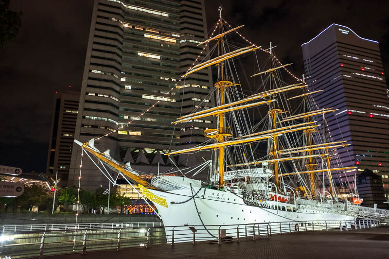 Japan-Yokohama-Shopping Street-Mall-Food - And heres a giant whaling ship in the harbour, unloading its tasty tasty catch.