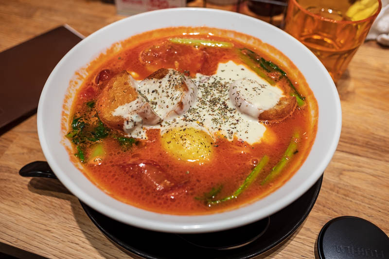 Japan-Tokyo-Shinjuku-Golden Gai-Ramen - I came here to have my favourite tomato ramen with gorgonzola and chorizo. I convinced myself that by walking there I would burn off the extra calorie