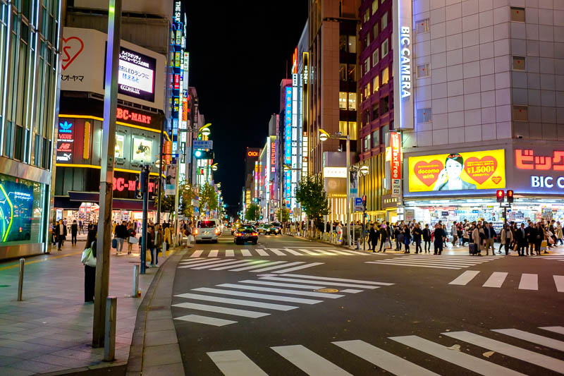 Japan-Tokyo-Shinjuku-Golden Gai-Ramen - This is the crossing right by the station, where are all the people?