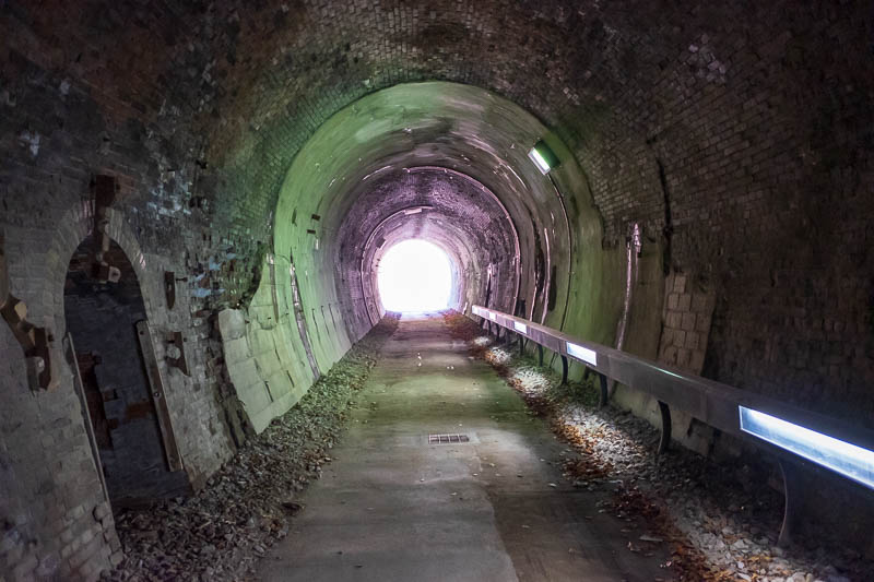 Japan-Nakasendo-Hiking-Karuizawa-Autumn Colors - The tunnels today were very well lit, tracks removed, no need for a torch at all.