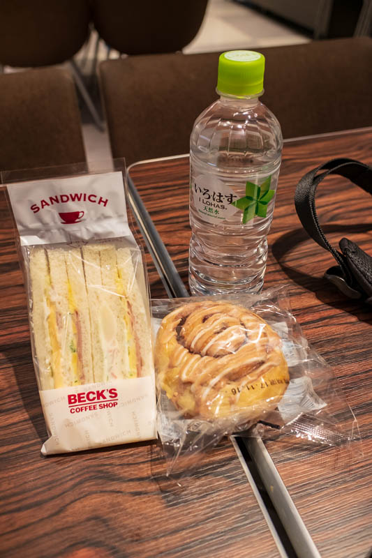 Japan-Tokyo-Ueno-Narita - My disappointing airport lunch to use up the last of my Yen. I am going to stock up on drinks for the plane because Singapore Airlines dont seem to be