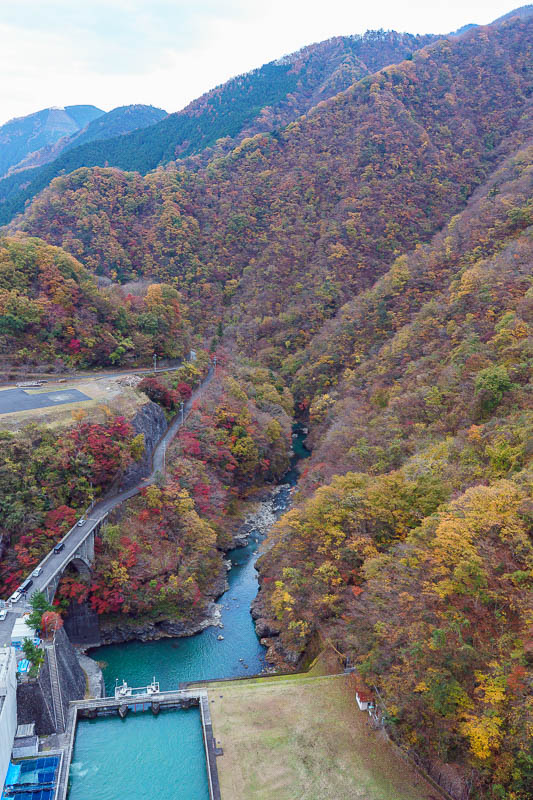 Japan-Okutama-Lake-Hiking - I guess it looks quite high from this point. The ravines / canyons down stream that I like so much are created by this dam. Thank you dam.