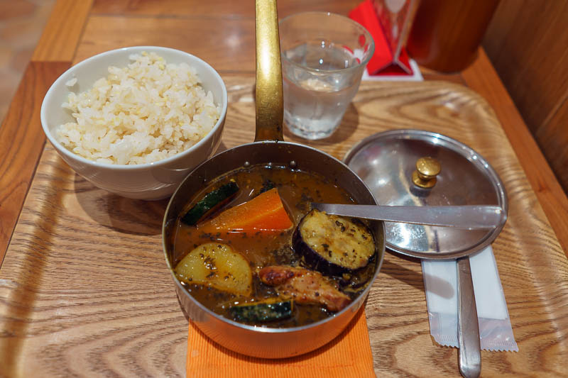 Japan-Tokyo-Hachioji-Food - I was starving by now, having only eaten calorie mate and an ice cream on my long hike / run. Time for a vegetable stew.... with chicken! I was surpri