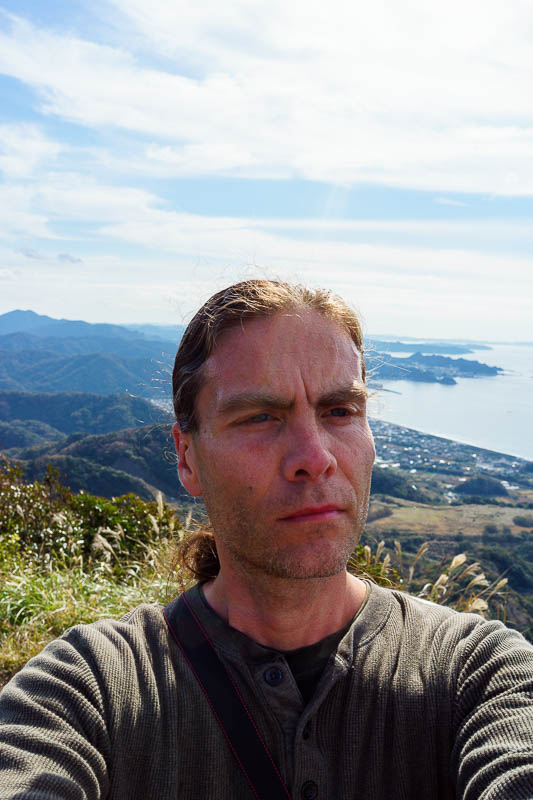 Japan-Chiba-Hiking-Mount Nokogiri - HERE IS THE LAST SELFIE OF THIS TRIP. Enjoy it in all its magnificent grandeur. I was still wearing shorts today, but I foolishly put on a long sleeve