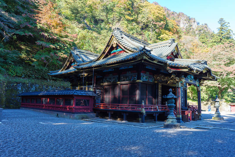 Japan-Gunma-Hiking-Mount Myogi - The main shrine is small but colorful. Hard to photograph due to the dark shadows, blazing sunshine.