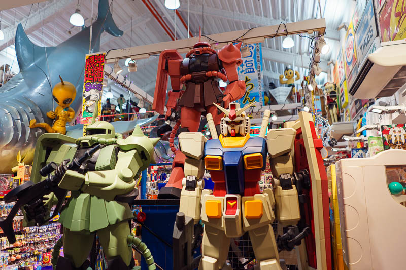 Japan-Okinawa-Naha-Beach - Mecha robot things, attack! This is the best of the junk shops because of all the weird things like this they have. They are at least 5 times busier t