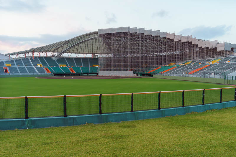 Japan-Okinawa-Naha-Food - The local baseball stadium appears to be under construction. I was surprised that its all open at the back like this. I threw a few pitches.