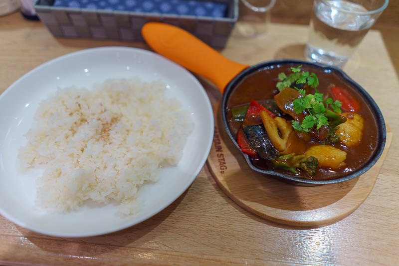 Japan-Okinawa-Naha-Food - Instead, I went and had my vegetarian curry thing, for only 650 yen! I was very satisfied because it was cheap. This was in the basement of a departme