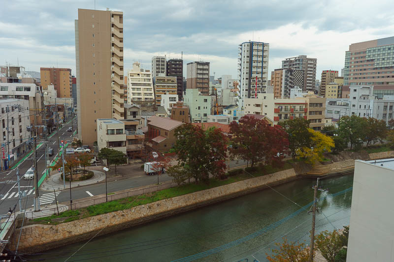 Japan-Okinawa-Fukuoka-Airport - Here is the view from my hotel room. It is right in between the two main stations of Tenjin and Hakata. Hakata is where Hakata ramen comes from, which