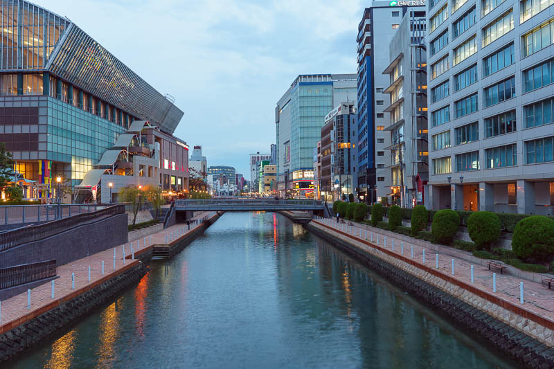 Japan-Fukuoka-Hakata-Ramen - Fukuoka also has many canals and walkways along them. This is the one near my hotel at dusk. As you can see, still grey, but really warm, I was regret