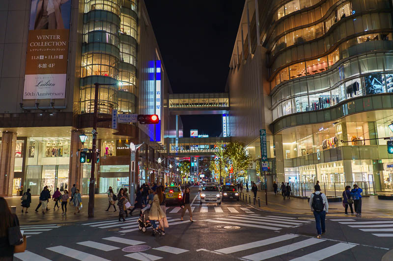 Japan-Fukuoka-Tenjin-Food - Here, have a bit more bright lights of Tenjin, with the fancy stores and their overpasses.