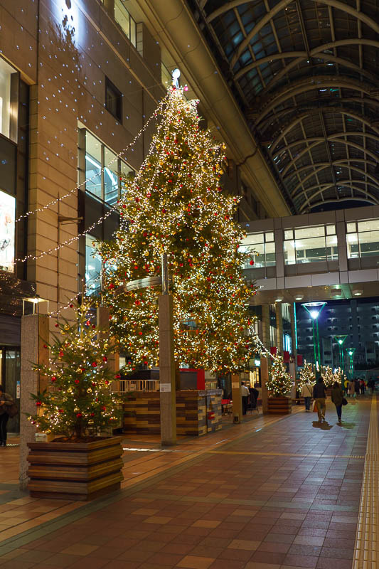 Japan-Fukuoka-Tenjin-Food - This is the Daimaru atrium and its huge Christmas tree. I think it was fancier the last time I was here? I took a photo then, I will check later, or n