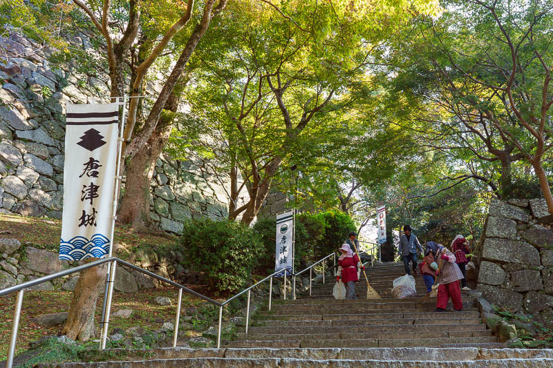 Japan-Karatsu-Castle-Hiking - The castle was not far from the station despite my longer course along the beach. Before I knew it I was ascending the stairs through an army of guys
