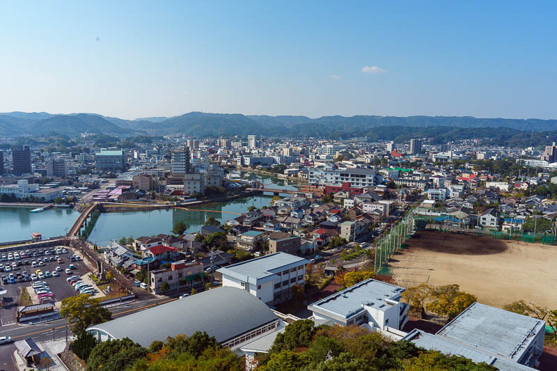 Japan-Karatsu-Castle-Hiking - This is the sizeable town of Karatsu. It looks nice from up here. I think lots of it is abandoned. This shot cleaned up ok!