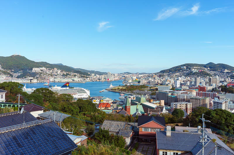 Japan-Nagasaki-Hiking-View - It was now time for me to ascend through some little farms up a staircase, another cruise ship has docked already.