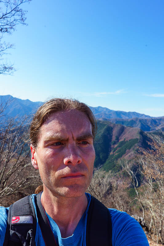 Japan-Tokyo-Hiking-Mount Kawanori - Here I am, looking into the mid distance, pondering which way to go down (there were 3 choices).
