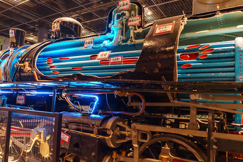 Japan-Tokyo-Kawagoe-Museum - This steam train has been cut apart and retrofitted with lasers which help it go into space.